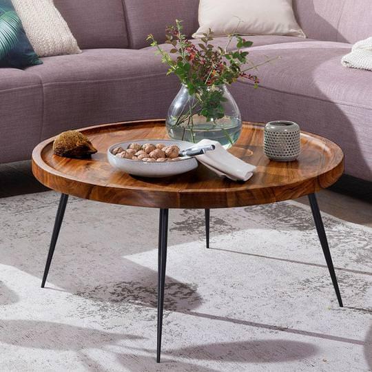 میز جلو مبلی صفحه چوبی پایه دار مدرن