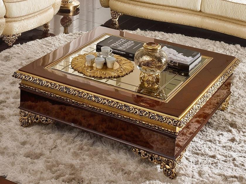 میز جلو مبلی کلاسیک مربع چوبی و شیشه ای