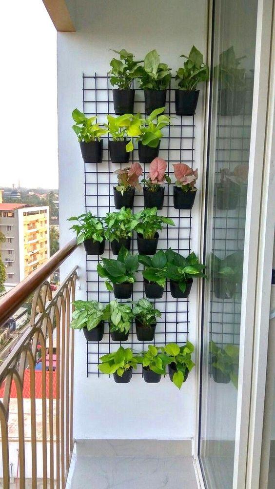 قفسه بندی دیوار بالکن کوچک برای قرار دادن گلدان