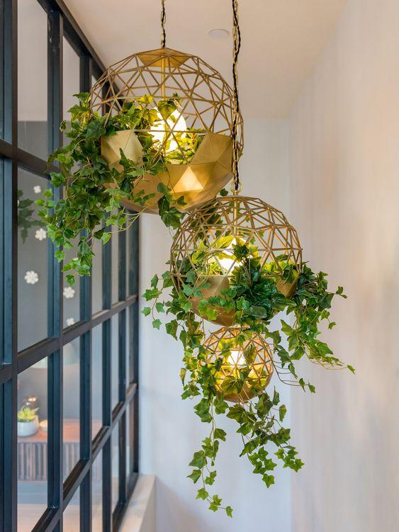 گلدان های سقفی دایره ای مناسب برای بالکن های کوچک