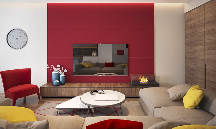 دکوراسیون نشیمن با دیوار تاکیدی قرمز که پشت تلویزیون را دیزاین کرده است