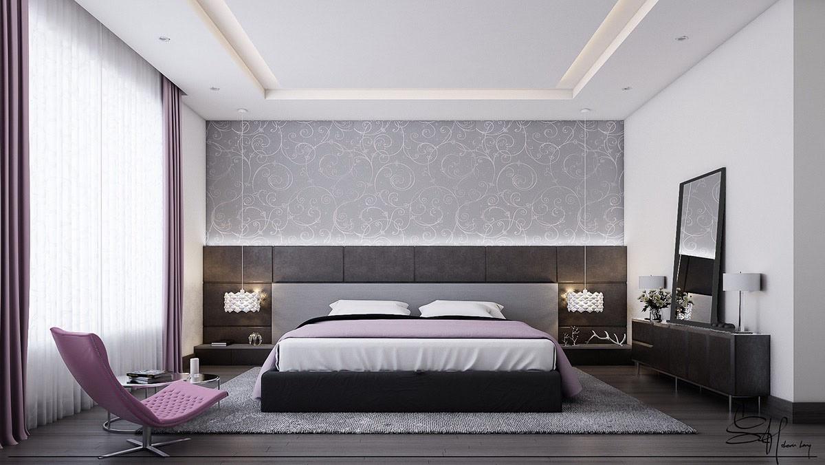 اتاق خواب با دیوار خامستری و کف\وش چوبی تیره که پرده و مبل بنفش دارد