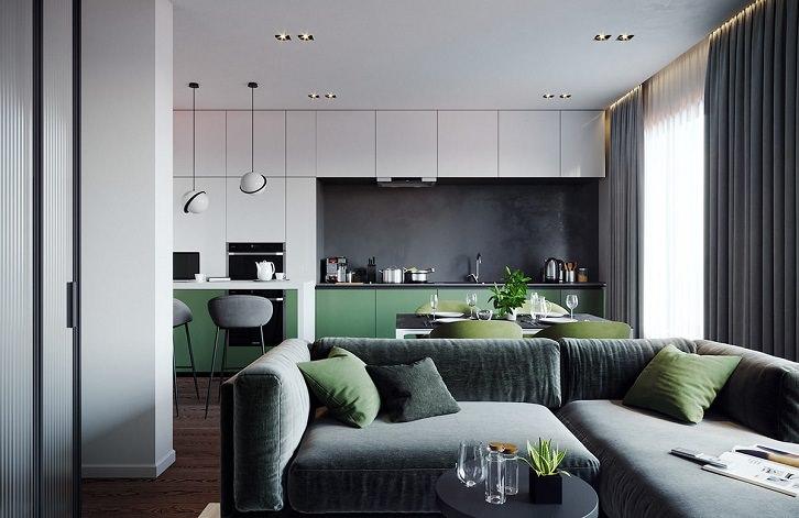 مبل راحتی و پرده خاکستری که رنگ کابینت ها و صندلی ناهارخوری آن سبز است