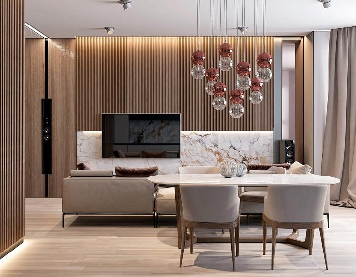 رنگ خنثی قهوه ای در دکوراسیون نشیمن که دیوار پشت تلویزیون، کف پوش و دیوارهای چوبی و پرده قهوه ای دارد