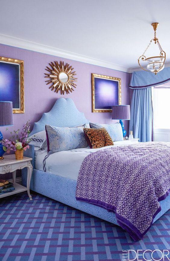 دکوراسیون اتاق خواب آبی و بنفش
