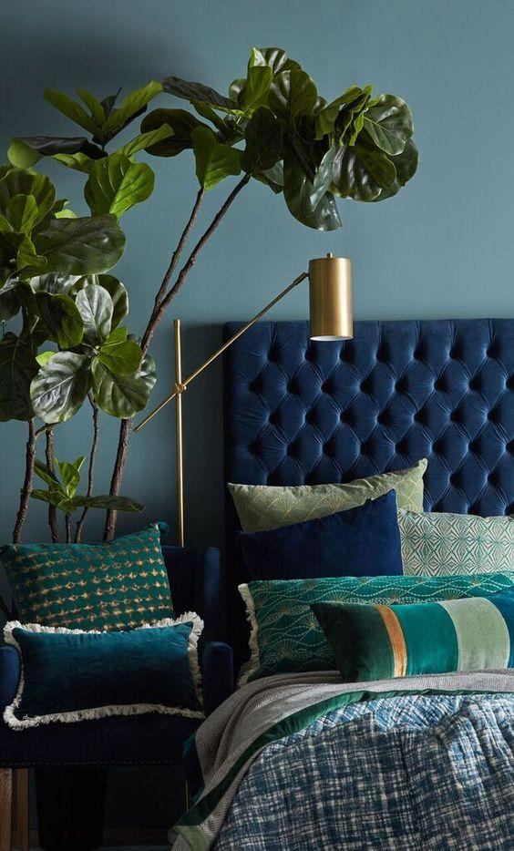 اتاق خوابی با ترکیب رنگی آبی