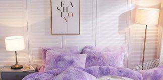 اتاق خوابی با رو تختی بنفش و دیوار سفید