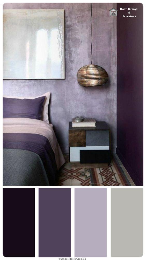 اتاق خواب با رنگ طوسی و بنفش
