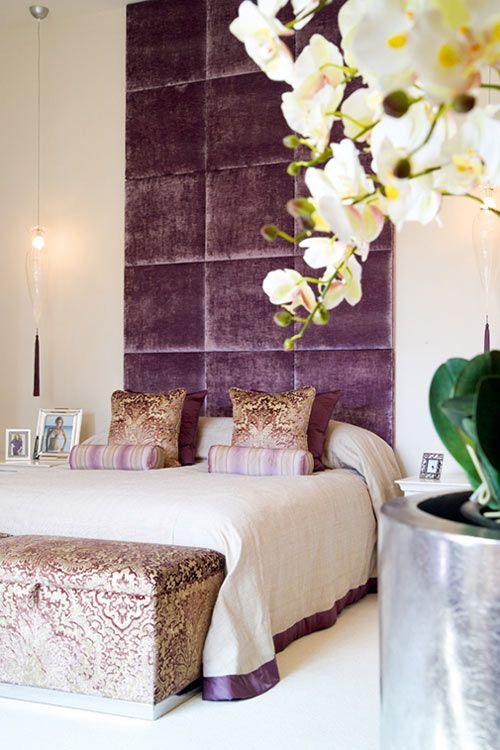 اتاق خوابی با پالت رنگی بنفش و طلایی