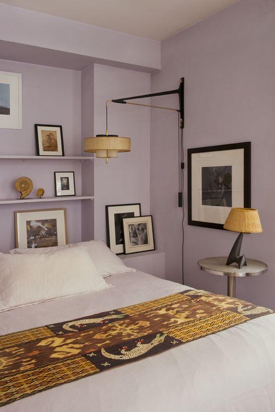 دکوراسیون اتاق خواب بنفش و زرد