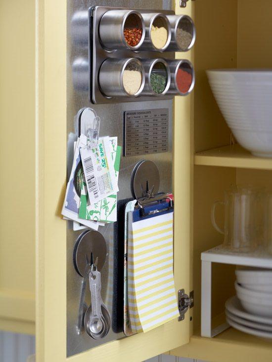 چیدمان ادویه در کابینت با جا ادویه ای آهنربایی یا مگنتی که پشت در کابینت قرار گرفته است