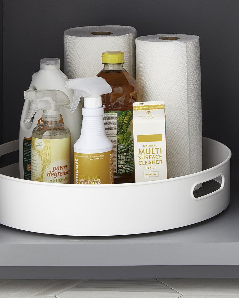 چیدمان کابینت زیر سینک ظرفشویی با سینی گردان لیزی سوزان