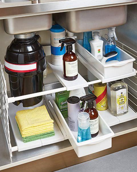 چیدمان کابینت زیر سینک ظرفشویی با قفسه مخصوص انعطاف پذیر