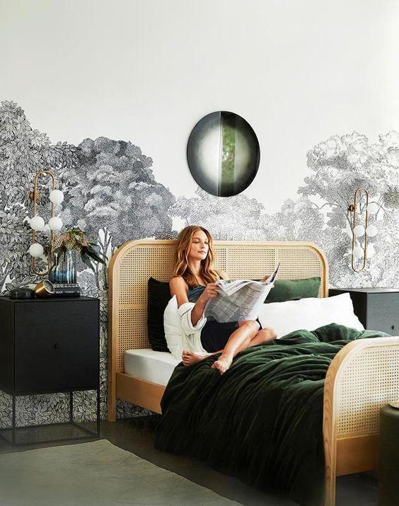 اتاق خواب سبز و طوسی