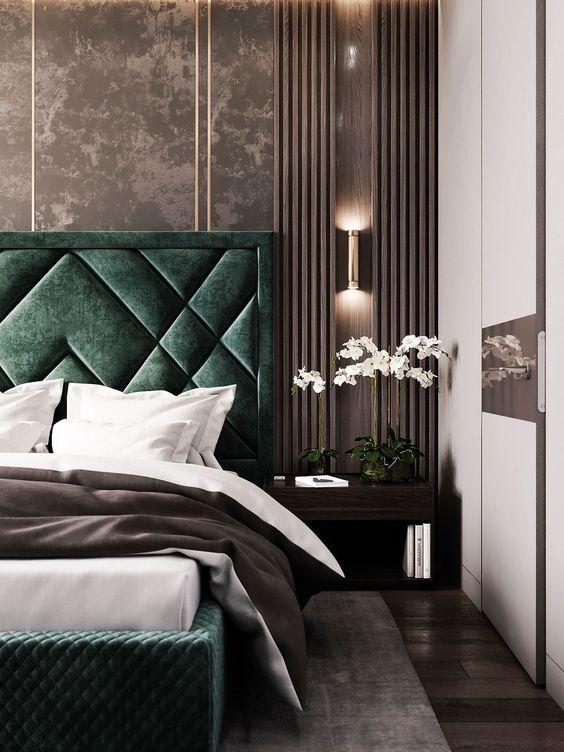 اتاق خواب کلاسیک با رنگ سبز و قهوه ای