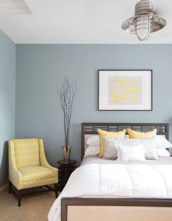 دکوراسیون اتاق خواب آبی زرد سفید