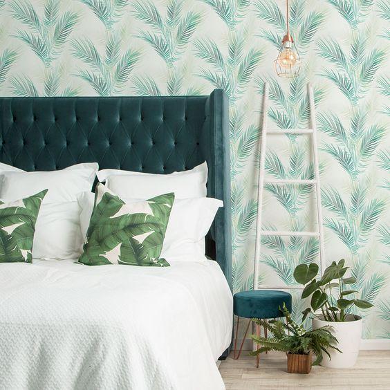 اتاق خواب سفید و سبز