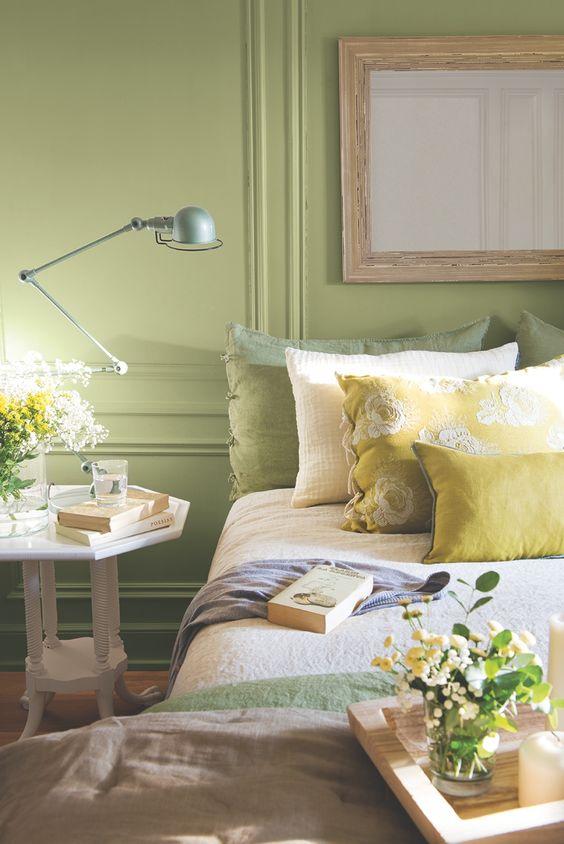 اتاق خواب با ترکیب رنگی سبز پسته ای و زرد