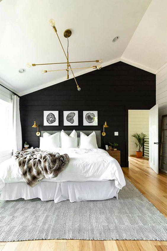 دکوراسیون اتاق خواب مشکی و سفید