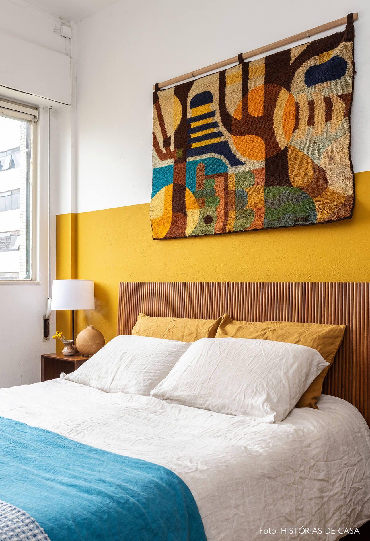 دیوار رنگ زرد اتاق خواب