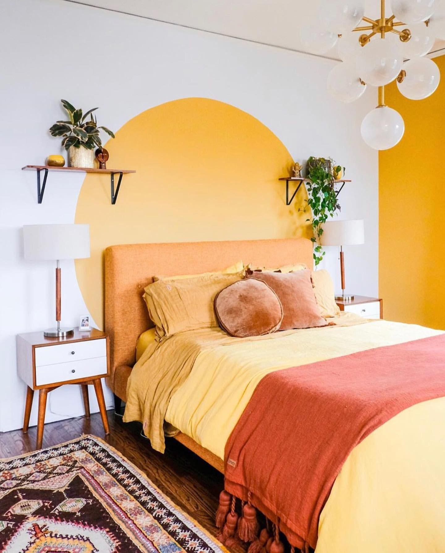 اتاق خواب زرد و نارنجی
