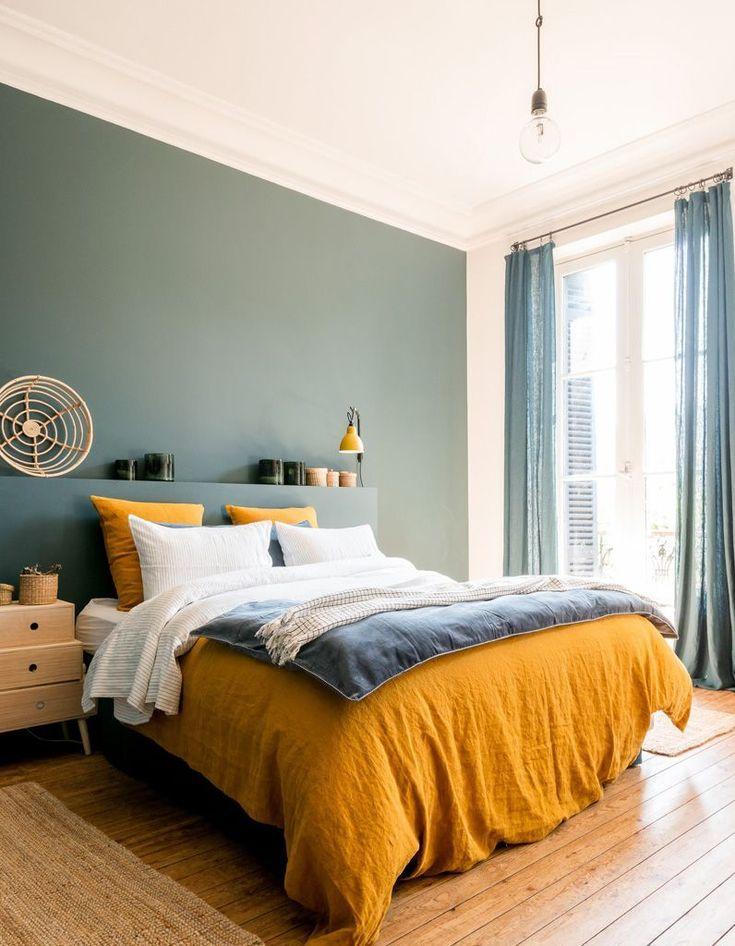 دکوراسیون اتاق خواب زرد آبی