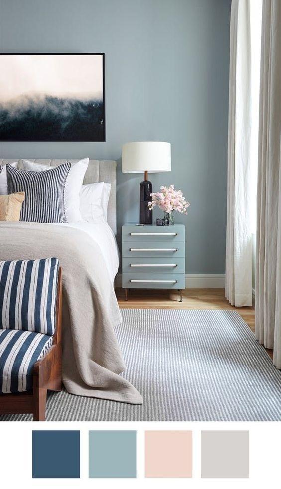دکوراسیون اتاق خواب آبی سفید صورتی