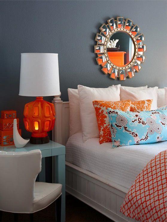 اتاق خواب با ترکیب رنگی نارنجی و آبی فیروزه ای