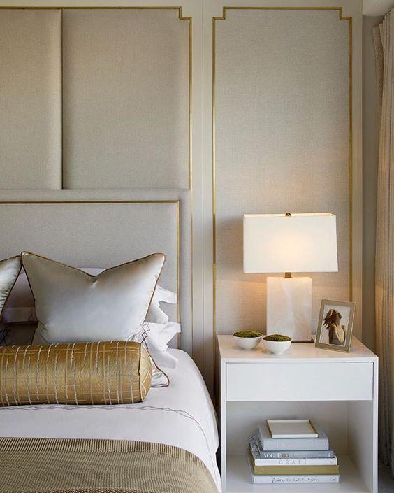 دکوراسیون اتاق خواب سفید و طلایی