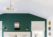 دکوراسیون اتاق خواب سبز و طوسی