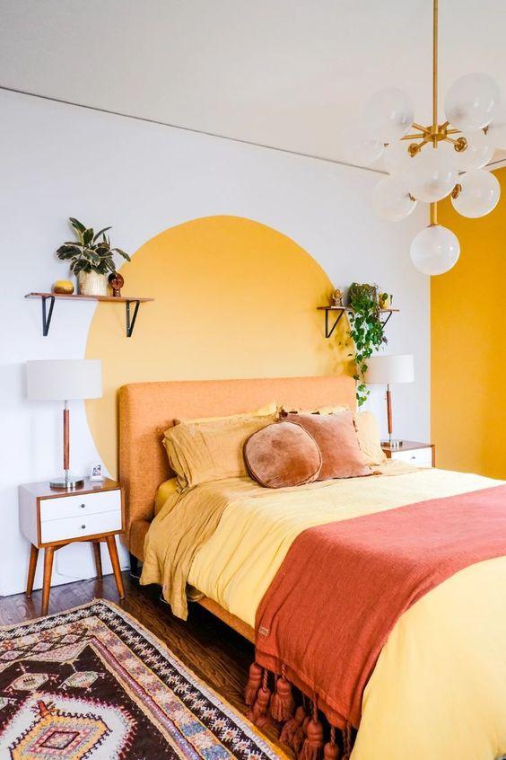 دکوراسیون اتاق خواب زرد و نارنجی