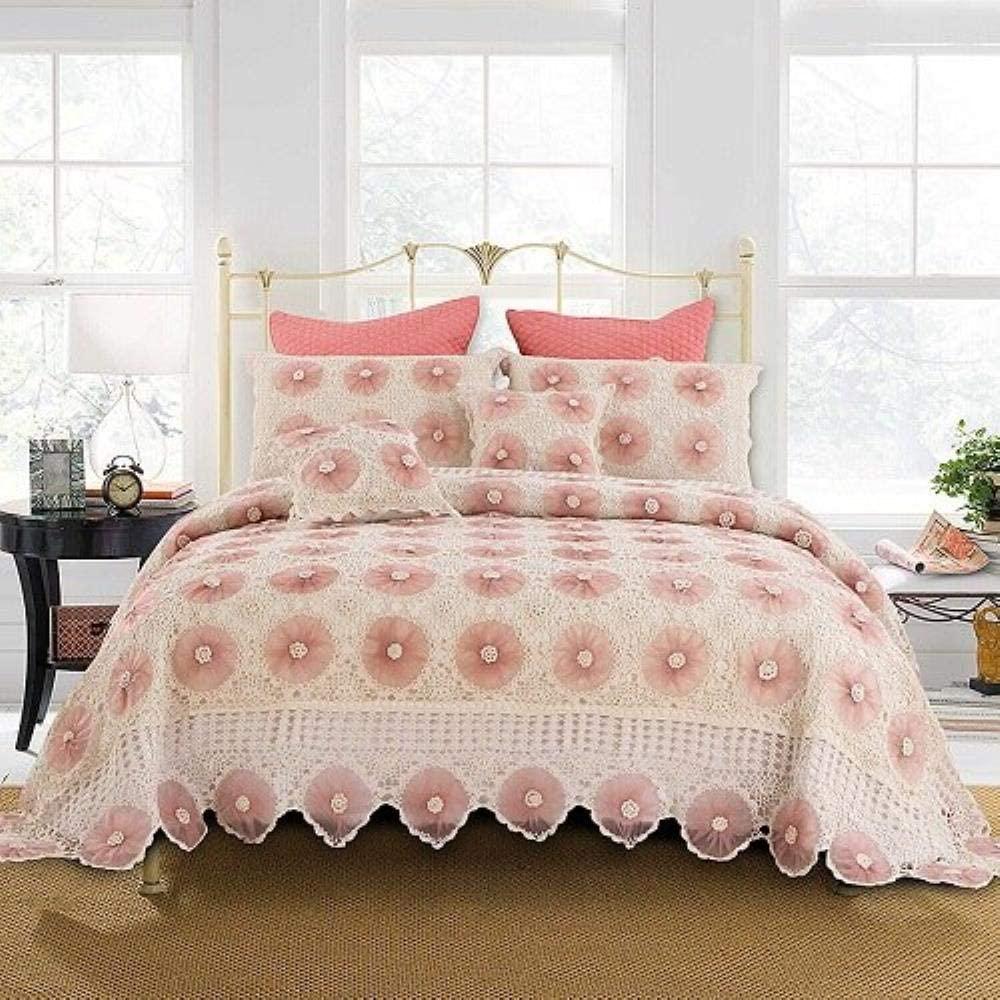 روتختی بافتنی سفید صورتی برای تخت خواب دو نفره