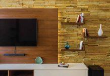 تصویر شاخص طراحی دیوار پشت تلویزیون با سنگ آنتیک
