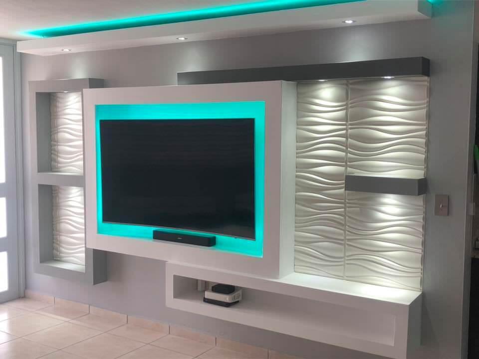دکوراسیون دیوار پشت تلویزیون با کناف و دیوارپوش سه بعدی