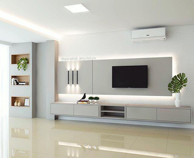 دکوراسیون دیوار پشت تلویزیون با کناف که به صورت دیوار کاذب کار شده است