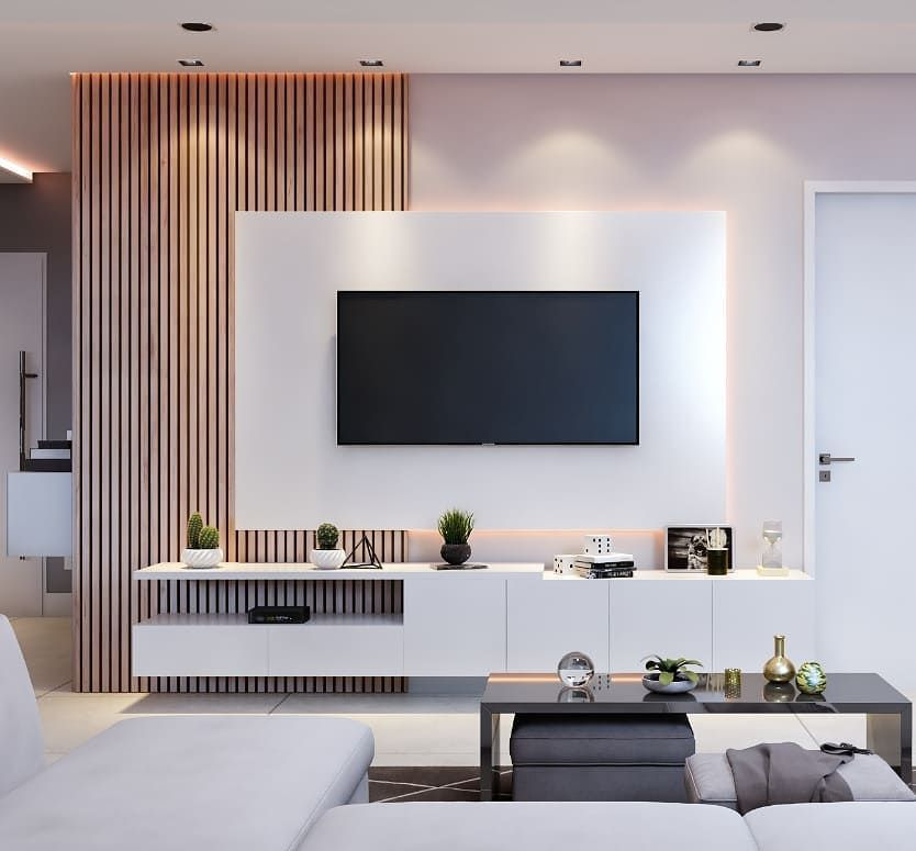 دکوراسیون دیوار پشت تلویزیون با کناف کاذب و چوب