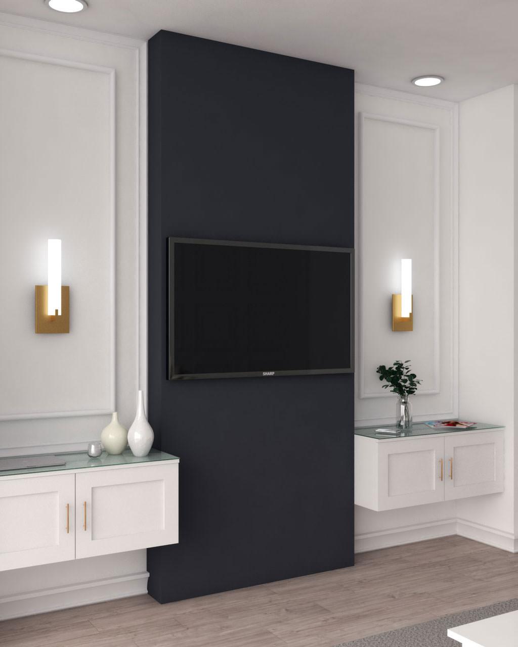 نقاشی دیوار پشت تلویزیون به رنگ مشکی زغالی به طرح عمودی