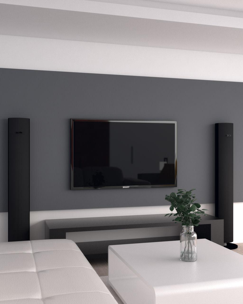 نقاشی دیوار پشت تلویزیون به رنگ طوسی تیره با طرح افقی