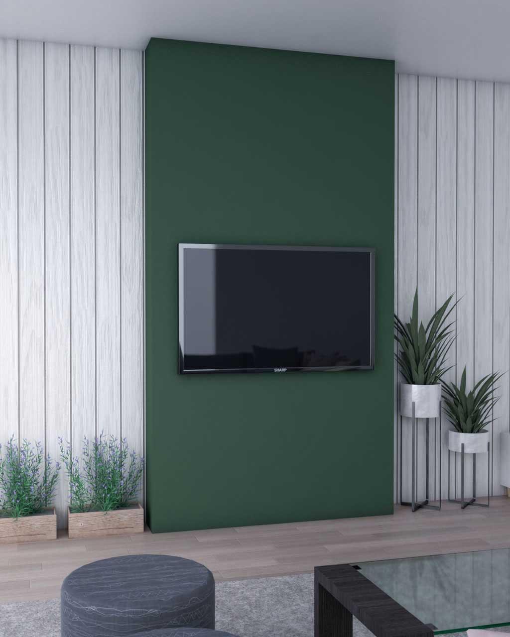 نقاشی دیوار پشت تلویزیون به رنگ سبز با طرح عمودی