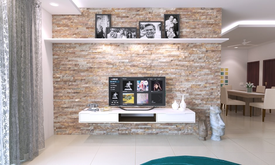 طراحی دیوار پشت تلویزیون با سنگ آنتیک قیچی کرم قهوه ای که چینش افقی دارد