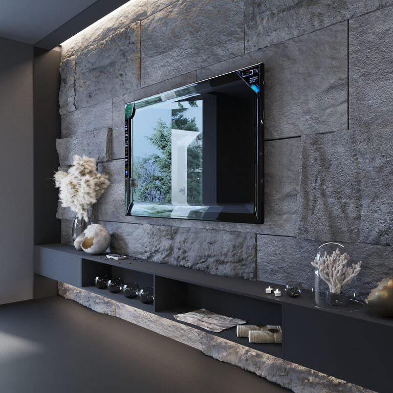 طراحی دیوار پشت تلویزیون با سنگ آنتیک تیره بزرگ