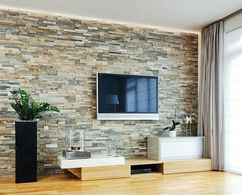 طراحی دیوار پشت تلویزیون با سنگ آنتیک گیوتین یا قیچی رنگ تیره روشن
