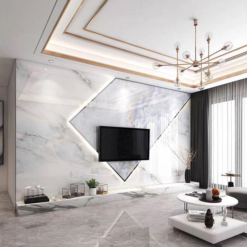 طراحی دیوار پشت تلویزیون با سنگ اسلب