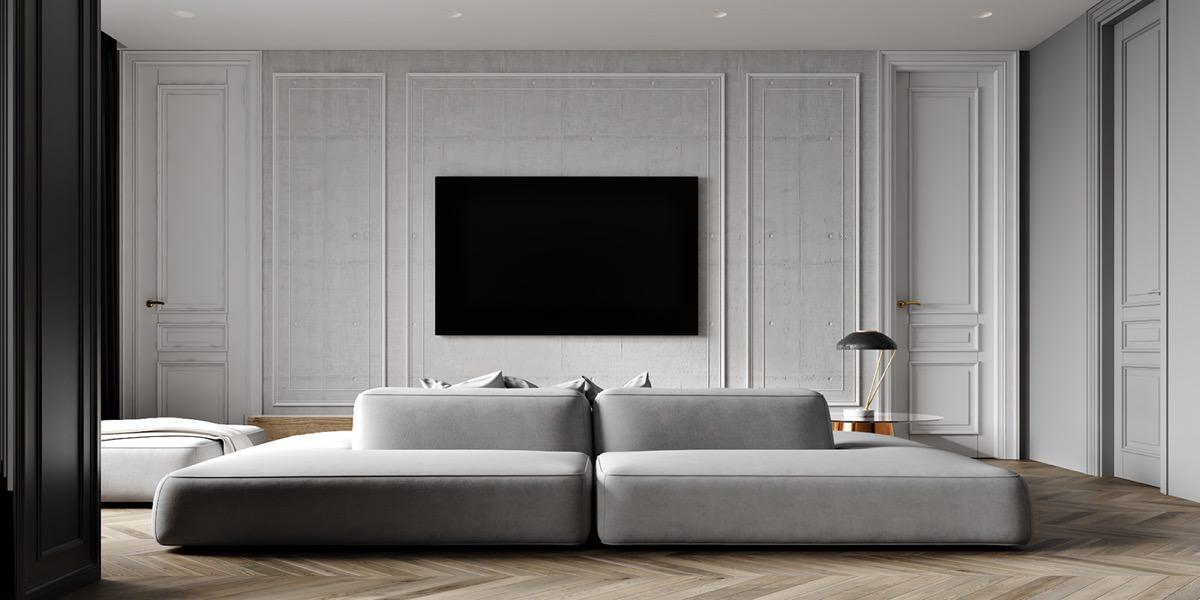 دکور دیوار پشت تلویزیون با قاب بندی کردن دیوار