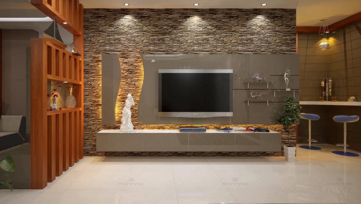 طراحی دیوار پشت تلویزیون با سنگ آنتیک و کناف و نور مخفی