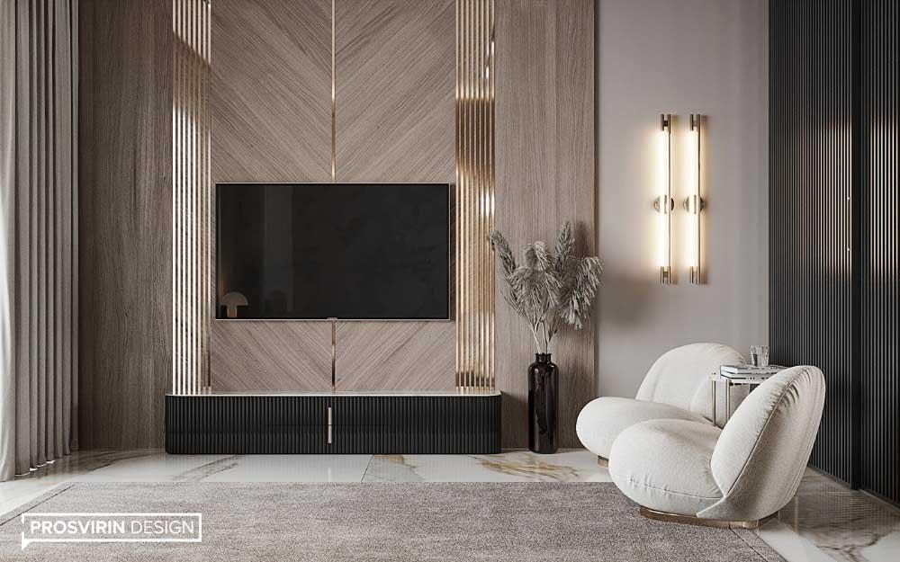 دکور پشت تلویزیون با چوب که به صورت مورب و فلش نصب شده است