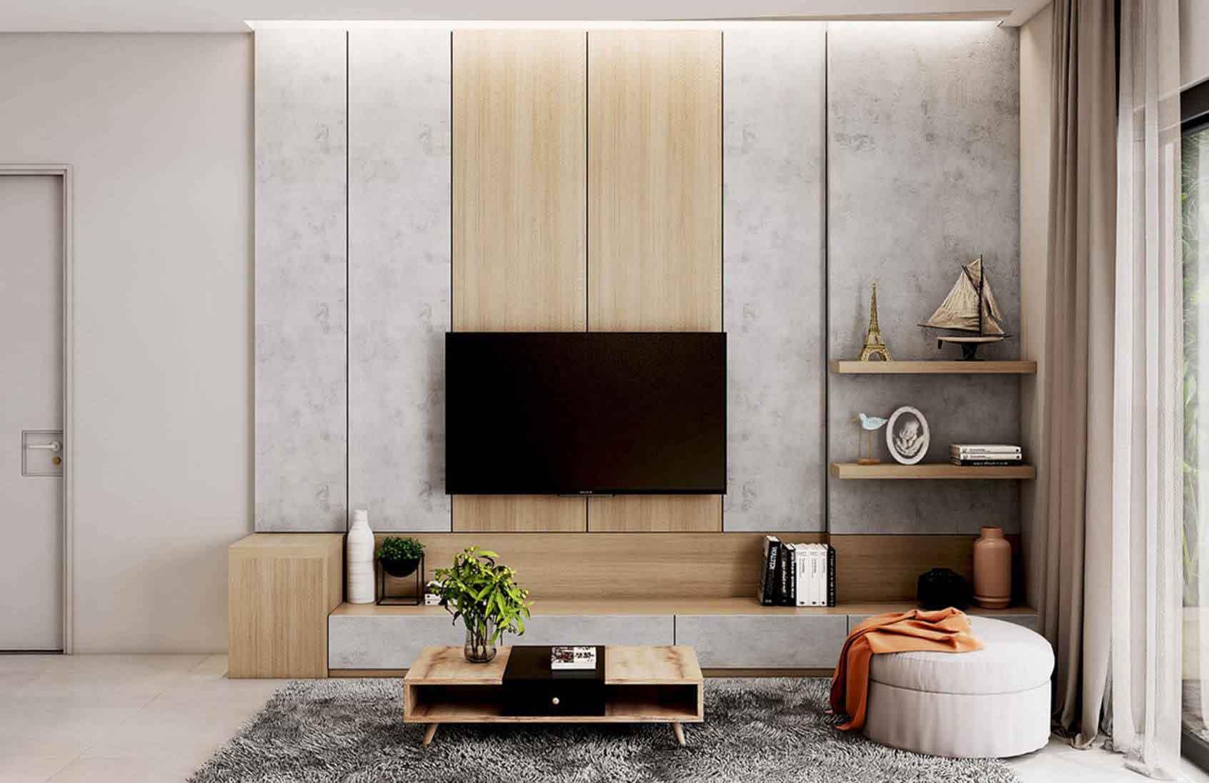 دکور پشت تلویزیون با چوب و دیوارپوش طرح بتن