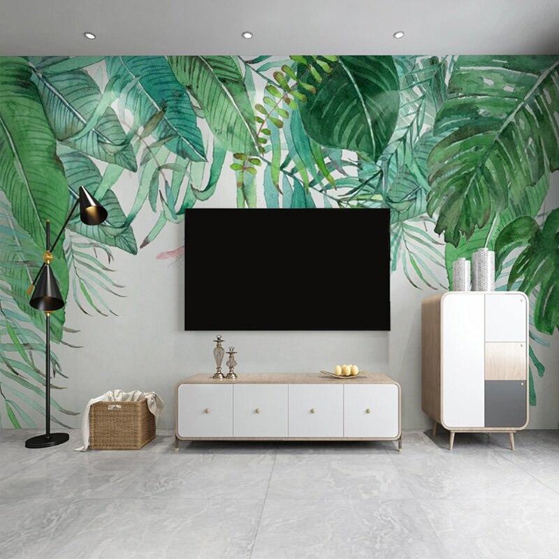 طراحی پشت تلویزیون با پوستر طرح بزرگ برگ