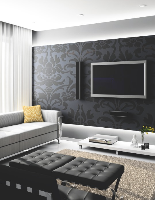 طراحی پشت تلویزیون با کاغذ دیواری تیره مشکی