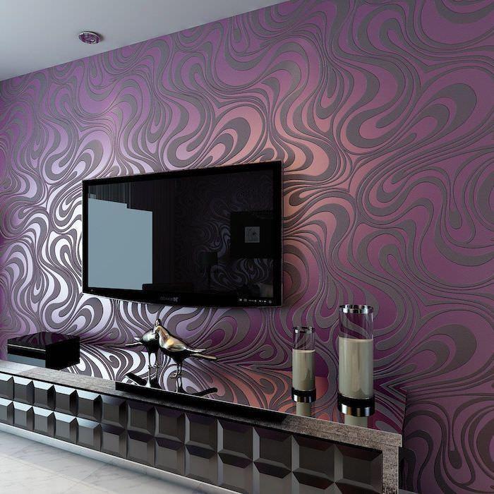 طراحی پشت تلویزیون با کاغذ دیواری جسورانه بنفش